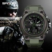 SANDA herren Uhren Schwarz Sport Uhr LED Digital 3ATM Wasserdichte Militär Uhren S Schock Männlichen Uhr relogios masculino