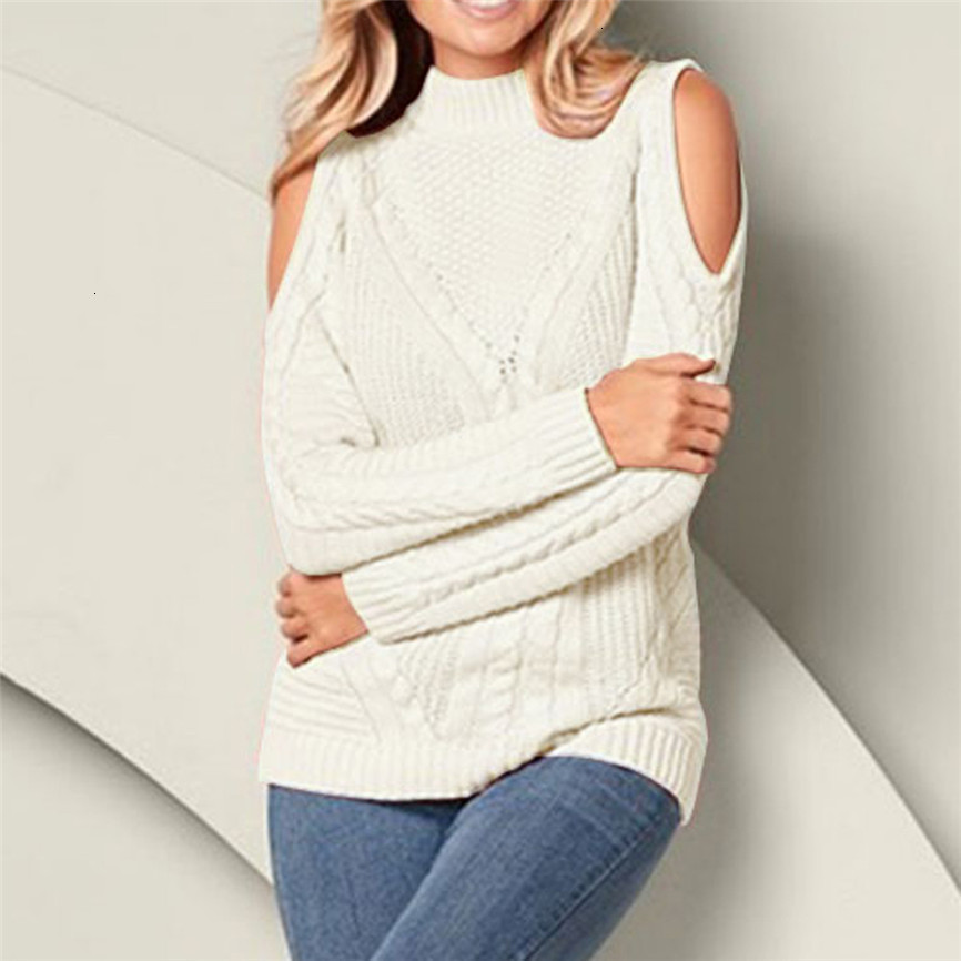 2019 Hot Sell Pullover Plus Size Women Knitted Solid Color Long Sleeve O-Neck Sweater Hollow Out Top In High Quality Pull Femme