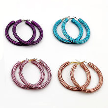WGOUD Bling Bling Crystal Hoop Earring Fashion Rainbow Solid Color Rhinestone Round Circle Statement Earring For Women Gift