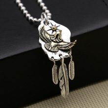 925 Sterling Silver Jewelry Men Women Ethnic Initial Pendant Flying eagle Feather Necklace Pendant 925 sterling silver vintage feather cross men women necklace pendant jewelery gift christmas