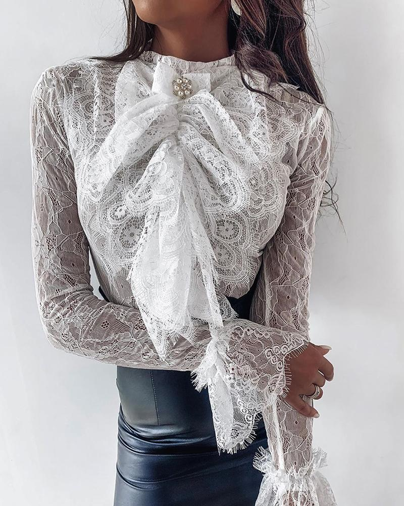 Women Sexy Lace   Blouse     Shirts   White Beaded Bow Tie Bell Cuff Lace   Blouse   Tops