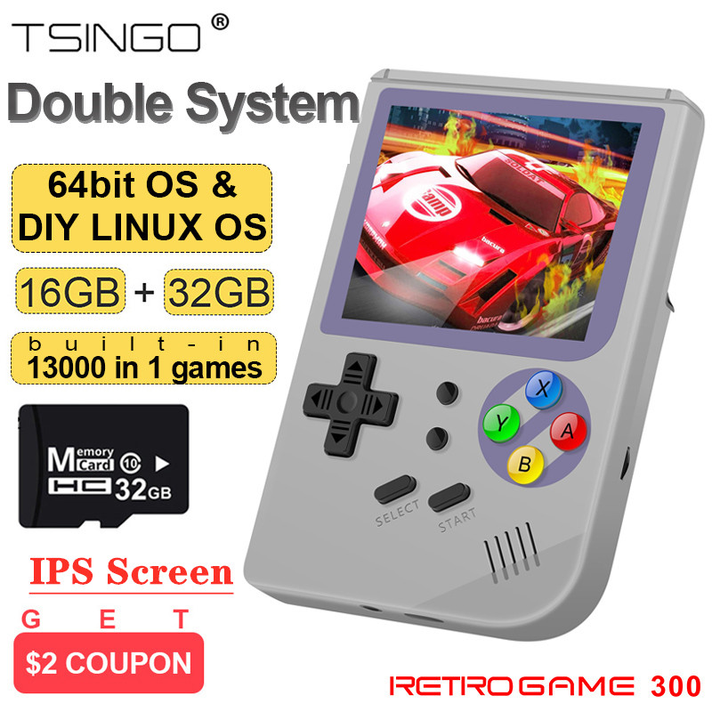 RG300 Double System DIY Linux Retro Game Console 2.8inch IPS Screen RetroFW Portable Handheld Game Console Player 13000+ Games