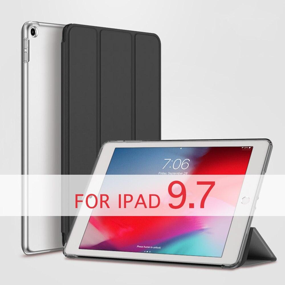"QIJUN Case For New iPad 9.7 inch 2017 2018 Air / Air 2 ipad 2 3 4 9.7"" Pro Funda PC Back Leather Smart Cover Auto Sleep"