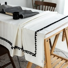 Ins Nordic Style Black And White Cotton Table Cloth Fringe Ball Lace Rectangle Cover Home Hotel Banquet Decor Tablecloth