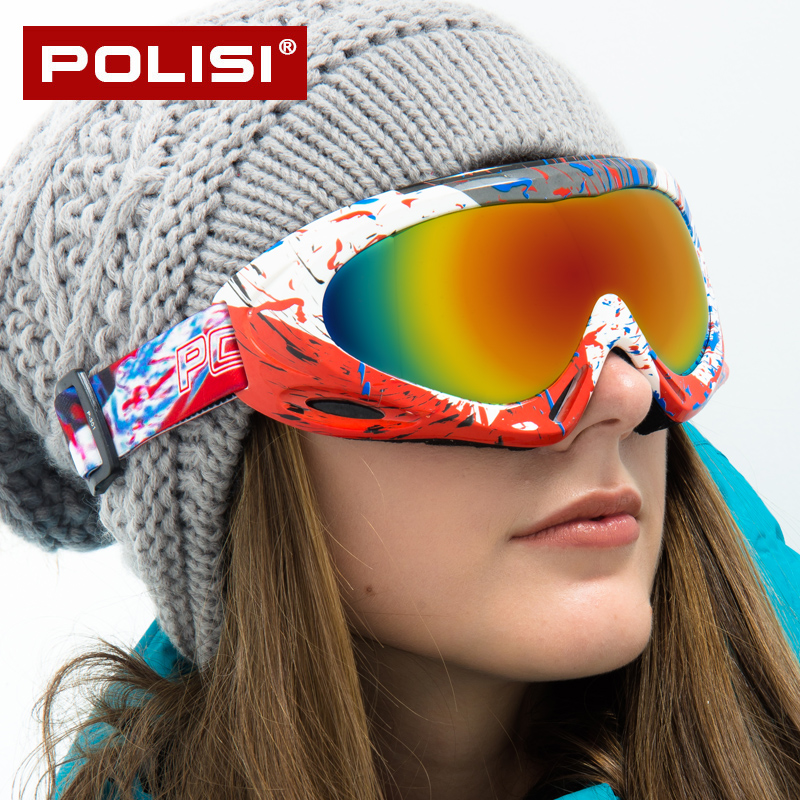POLISI Ski Eyewear Goggles Cycling Snowboard Glasses Men Women Anti-fog Photochromism Spherical View Anti-collision HD Lens P301
