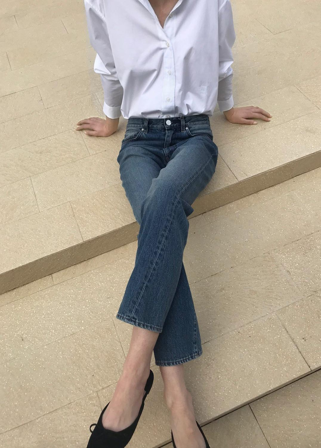 Women Jeans Casual Wild Loose Straight Cotton Jeans Ankle-length Pants