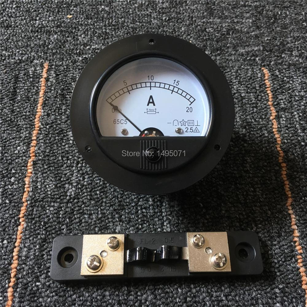 1pcs 62C2 DC 0-20A Round Analog Amp Panel Meter Current Ammeter Mechanical Pointer Gauge DC 20A w 75mV External Shunt Resistor