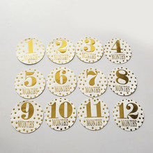 Newborn Baby Monthly Stickers Pregnant Women 1-12 Milestone Memory Photo Props(China)