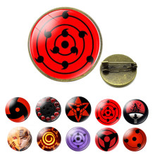 Uchiha Sharingan yeux épingle Badge dessin animé Bronze broche verre Cabochon broche Anime Naruto Cosplay cadeaux(China)