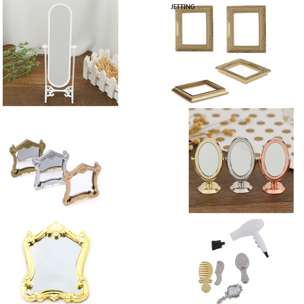 1/5pcs Metal Practical Bathroom House Miniature Vintage Glod Sliver Rose Gold Vanity Mini Mirror 1/12 Scale Dolls Furniture Toy