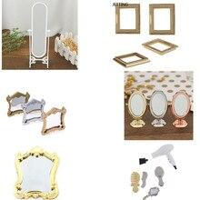 1/5 Uds Metal práctico casa de baño miniatura Vintage Glod plateado oro rosa vanidad Mini espejo 1/12 escala muñecas muebles de juguete