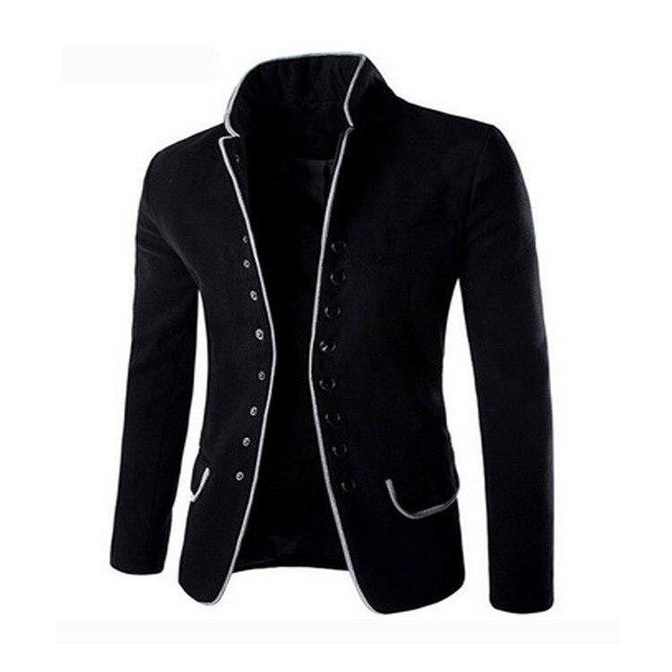 Winter Slim Fit Blazer Men Casual Black Woolen Suit Blazer Male Suit Stand Collar Plus Size Boys Tops Mens Fashion Party Blazer
