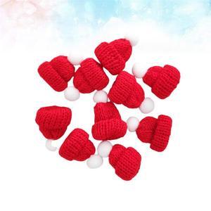 10 шт. вязаная Маленькая рождественская шапка Санта Клауса, милые рождественские шапки, головной убор, вечерние аксессуары ручной работы (красный) A35|Рождественские шапки|   | АлиЭкспресс