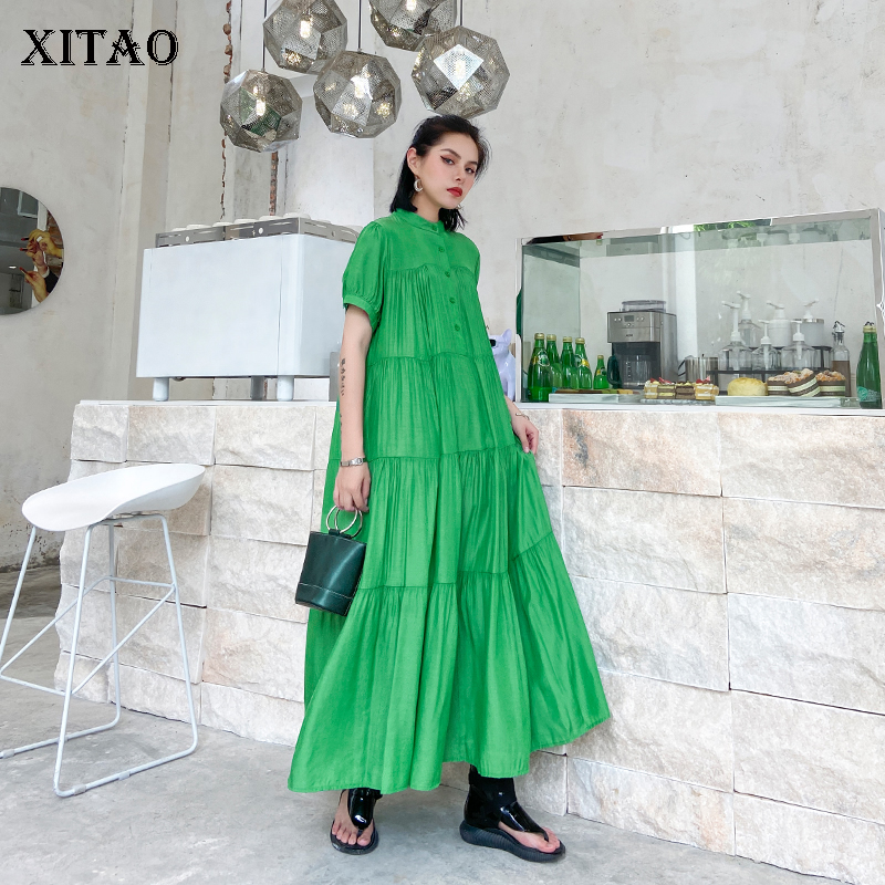 XITAO Draped Spliced Casual Button Dress Women 2020 Summer Trendy Fashion New Style Stand Collar Short Sleeve Elegant DZL1080(China)