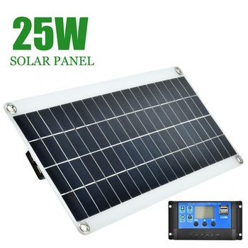 25W 12V Solar Panel Dual USB Output Solar Solar Panel for Car Yacht Battery Boat Charger solarparts 1pcs 75w flexible solar panel 12v solar panel solar cell yacht boat rv solar module for car rv boat battery charger