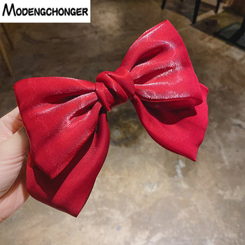 1Pc Sweet Solid Color Crystal Yarn Spring Clip Oversized Barrette 2 Layers Bow Hair Ponytail Accessories Knotted Mesh
