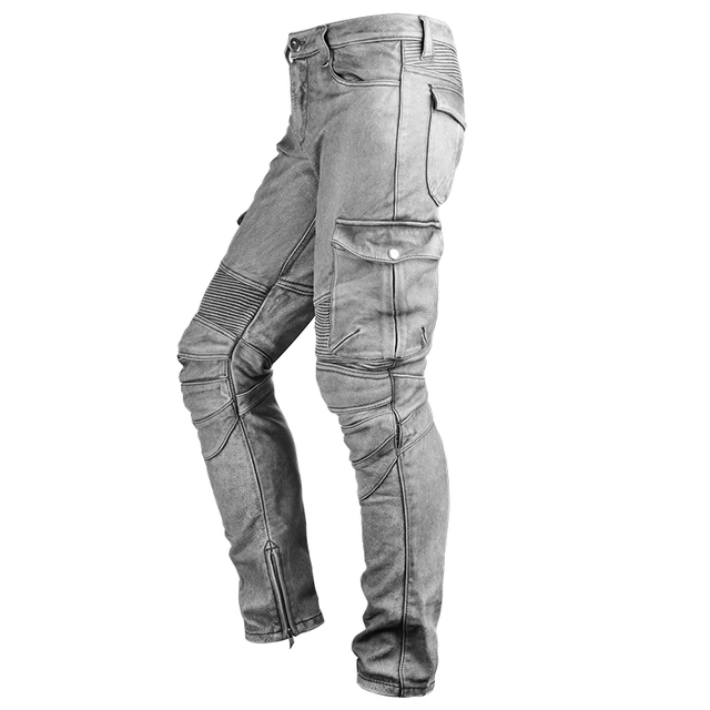 2020 Black Men American Style Motorcycle Leather Trousers Plus Size 4XL Genuine Thick Cowhide Biker's Pants FREE SHIPPING 5