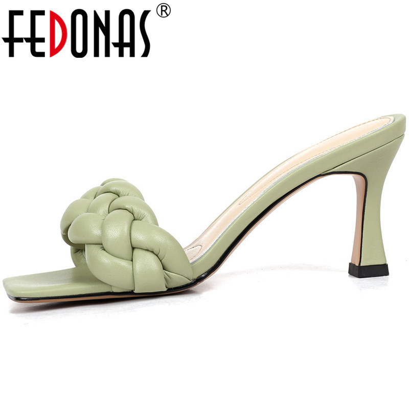 FEDONAS Concise Open-Toed Women Sandals Slingbacks Slippers Elegant High Heels Pumps 2020 New Fashion Wedding Prom Shoes Woman
