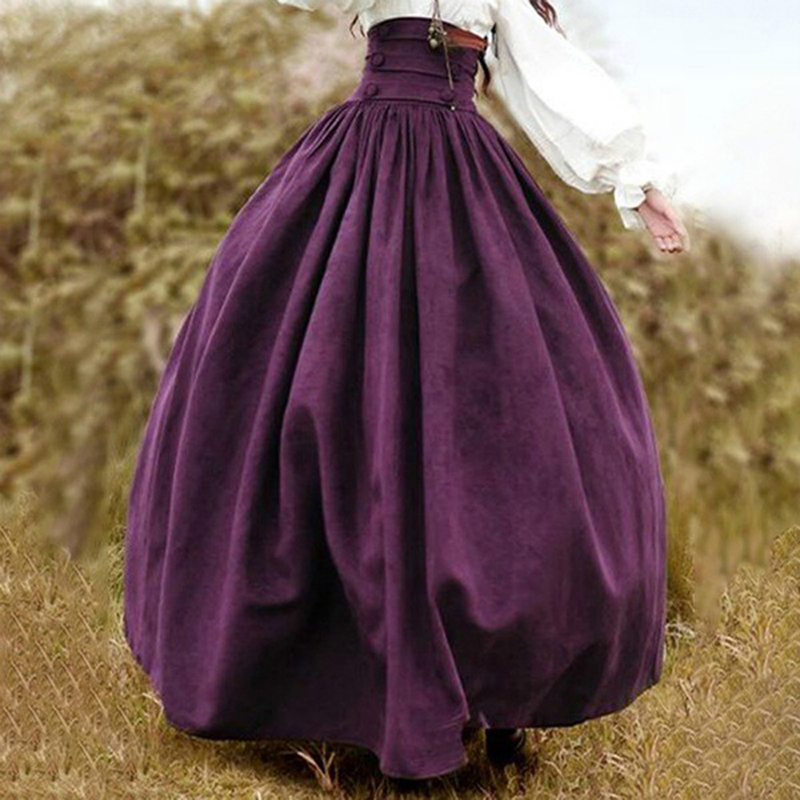 OEAK Women Medieval Renaissance Costume Skirt Retro Pleated Long Skirt Party Femme High Waist Faldas Largas Mujer Streetwear
