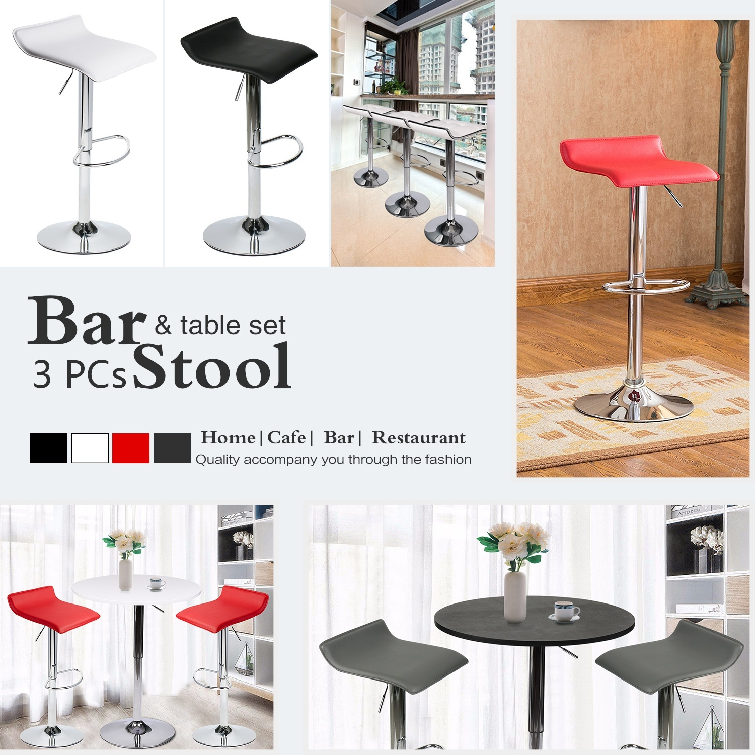 3 Piece Pub Table Set Bar Stools Kitchen Dining Furniture Counter Height Chair