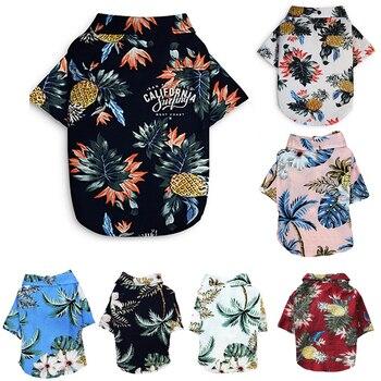 Ropa estampada de verano para mascotas, camisa de playa Floral, chaquetas, abrigo para cachorro de perro, disfraz de gato, ropa de primavera, trajes para mascotas