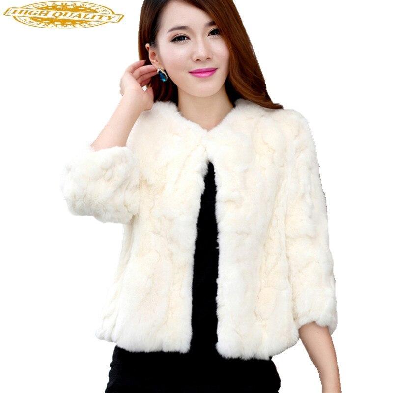 2020 Women Genuine Rabbit Fur Coats Solid Female O-Neck Natural Rex Rabbit Fur Jacket Short Winter Real Fur Coat 15C315