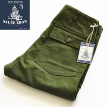 SauceZhan OG107 Utility Fatigue Pants Military Pants VINTAGE Classic Olive Sateen Straight Men Pants Pants amp Capris Casual Pants cheap Flat COTTON NONE REGULAR Full Length Midweight Twill Button Fly ArmyGreen Youth pop Other leisure Straight Cylinder trousers