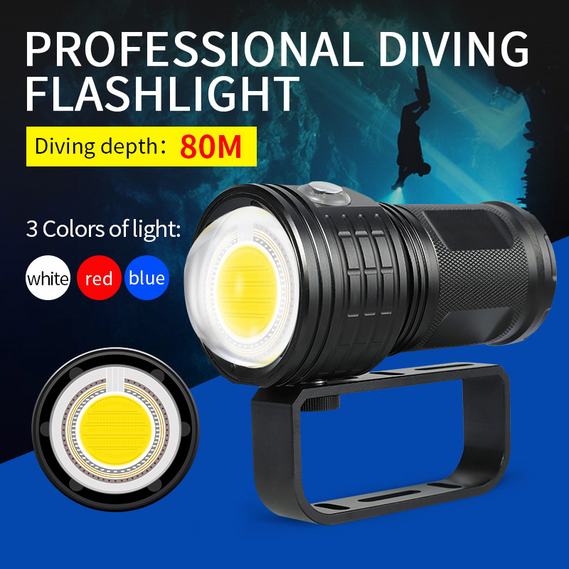 AEFJ Diving Flashlight Photography LED Light Underwater 80m IPX8 COB Torch Lamp multifunction diving light flashlight