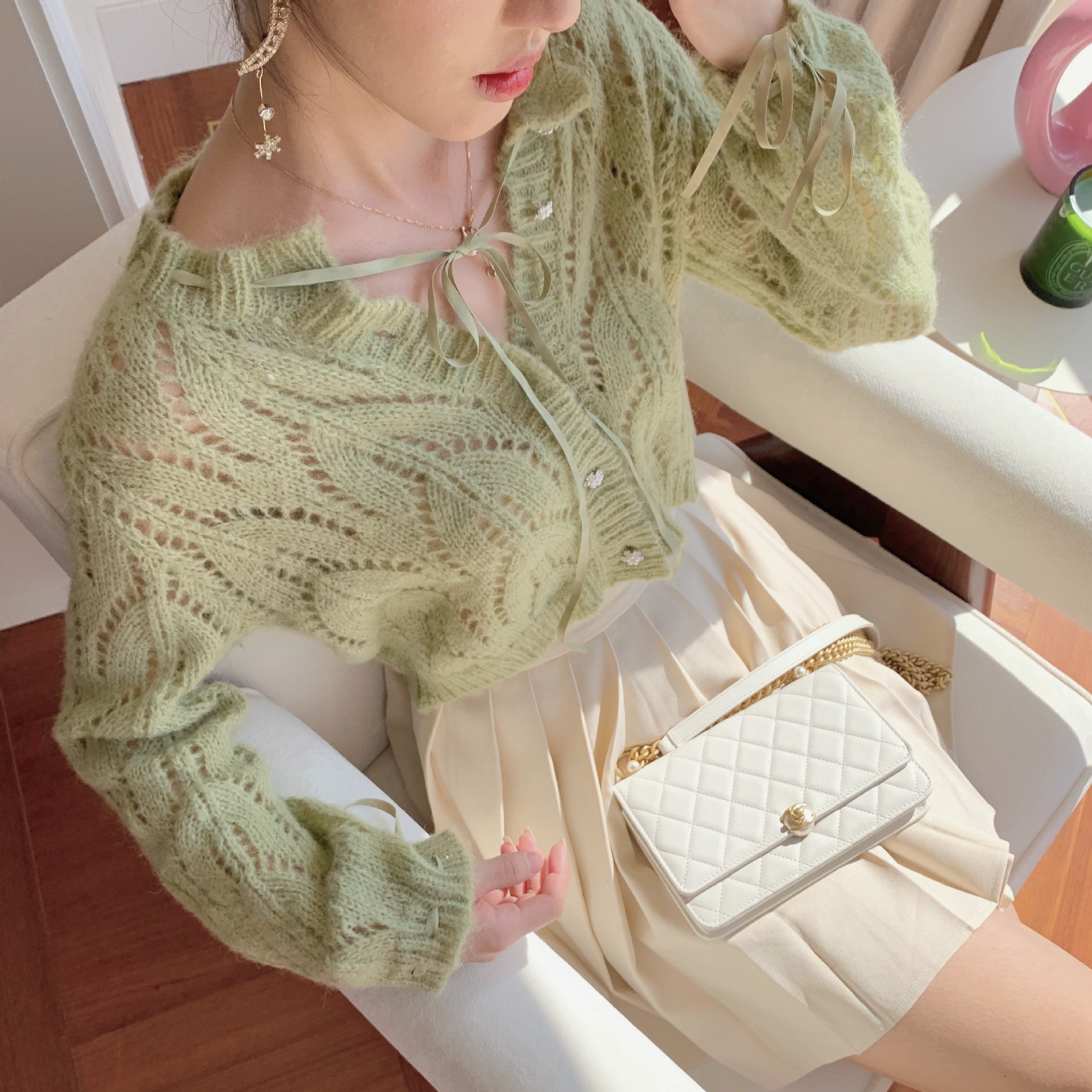 Spring / Autumn 2020 Short Section Outside Hollow Open Drawstring Cardigan Knitted Jacket Women Cardigan