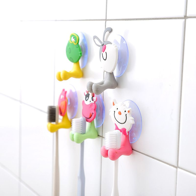Cute Cartoon Animal Toothbrush Holder Toothbrush Glass Tooth Brush Storage Rack Bathroom Suction Cup Toothbrush Holder For Kids image