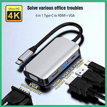 USB C Hub 4 Port USB 3.0 USB Type C 3.1 Splitter To 4K HDMI-Compatible With VGA Adapter Dock For MacBook Air 2021 Laptop PC