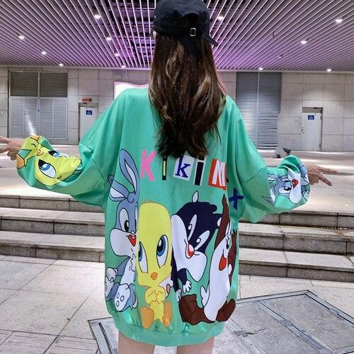 Fashion Long Students Sweet Style Sweatshirt Cartoon Print Designers Loose Oversize Women Shirts Sexy Drop-shoulder Pullovers
