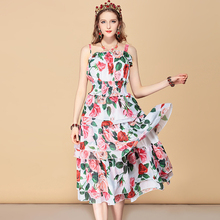 купить Baogarret Casual Holiday Summer Dress Women's Elastic Waist Rose Floral Print Chiffon Tiered Ruffles Midi Elegant Dress онлайн