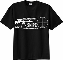 Camiseta sniper cecchino headshot personalizzata com nome clã o tuo nome mmo fps