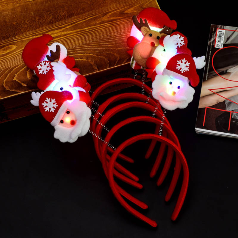 Economical <font><b>Christmas</b></font> Headband Light Up Hat Glasses Pen Brooch Accessories Decoration For Party Holiday ds99 image
