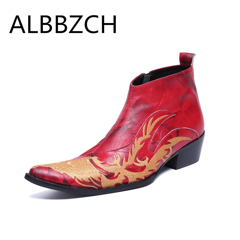 New Men Luxury Embroidered Leather Ankle Boots High Heels Red