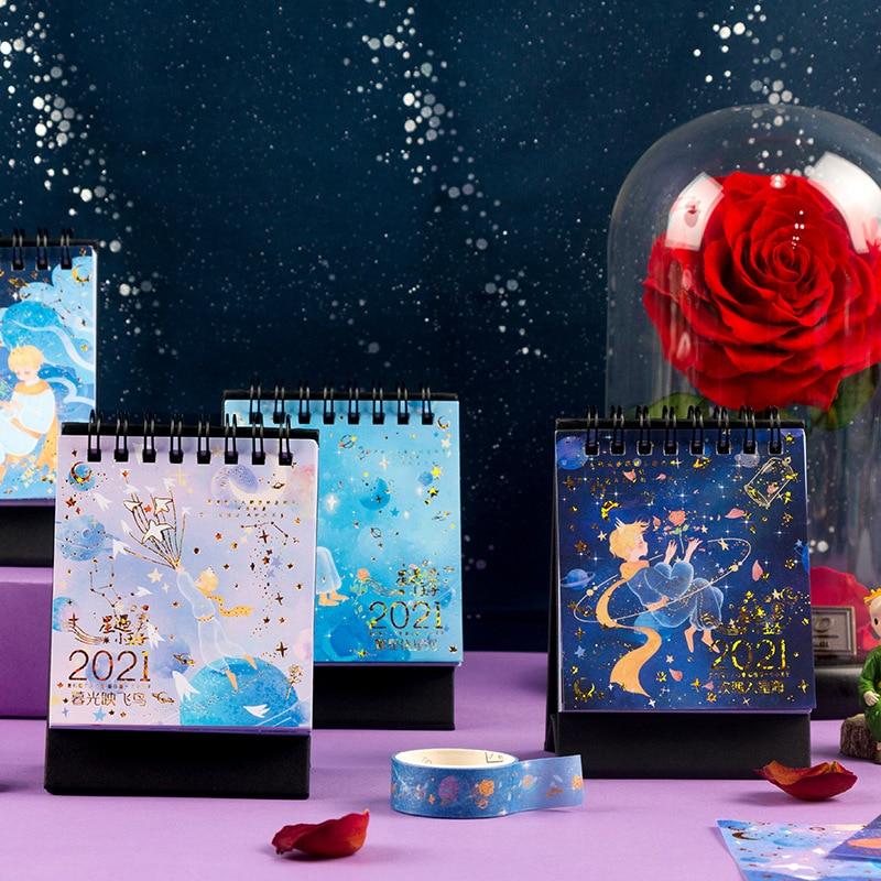 2021 The Little Prince Mini Desk Calendar Bright Galaxy Series Coil Calendars Daily Schedule Planner 2021.01-2021.12