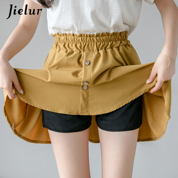 Jielur Solid Color Summer High Waist Skirts Womens Korean Elastic Waist Shorts Skirt Female Elegant Button Mini Pleated Skirt 2019 korean version of the new skirt female was thin spring rivet high waist elastic waist black pleated skirt s xxl mini skirt