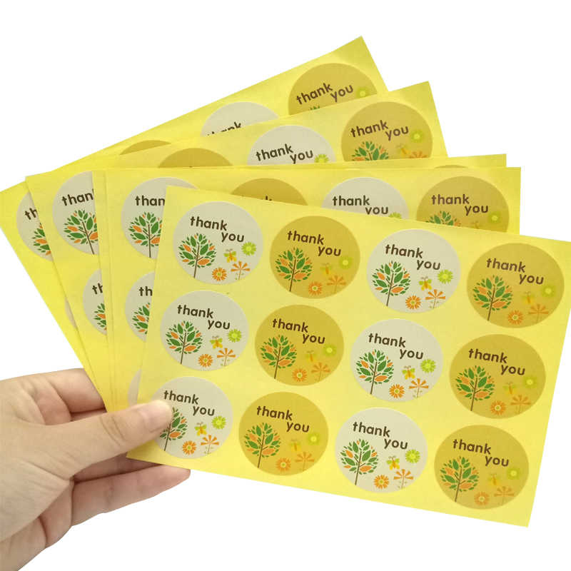 120pcs/lot Yellow White Thank you Round Trees Paper Sealing Label DIY Label For Handmade Gift Envelopes Stickers