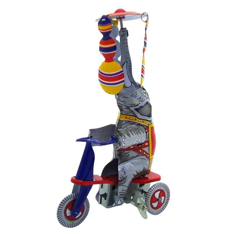 Blaszana zabawka moda śliczny słoń jazda trójkołowy zabawka żelazny słoń trójkołowy zabawka kreatywna blacha dekoracja na biurko Retro blacha zabawka