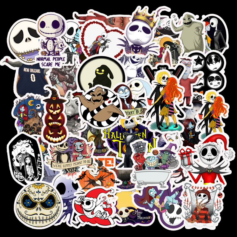 50pcs The Nightmare Before Christmas Halloween Waterproof Sticker For Luggage Laptop Bicycle Motorcycle Laptop Toys Stickers