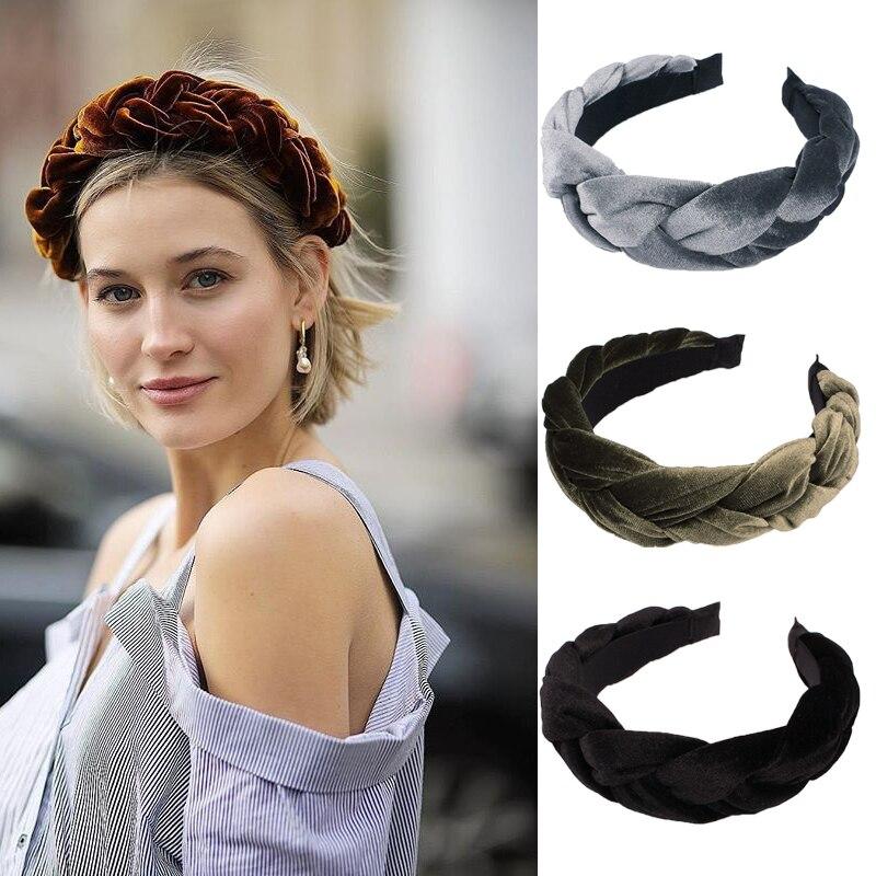 Xugar Hair Accessories Solid Velvet Fabric Braid Headband With Teeth For Women Twists Hairband Girls Wide Hair Hoop