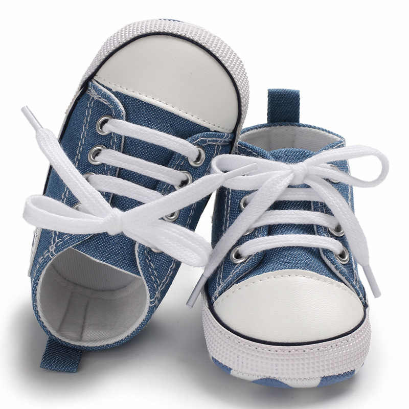 Yeni tuval bebek spor ayakkabı ayakkabı yenidoğan bebek erkek kız ilk yürüyüşe ayakkabı bebek yürüyor yumuşak taban kaymaz bebek ayakkabıları