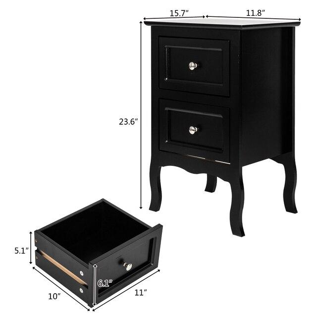 2 Drawer Bedside Nightstand  2