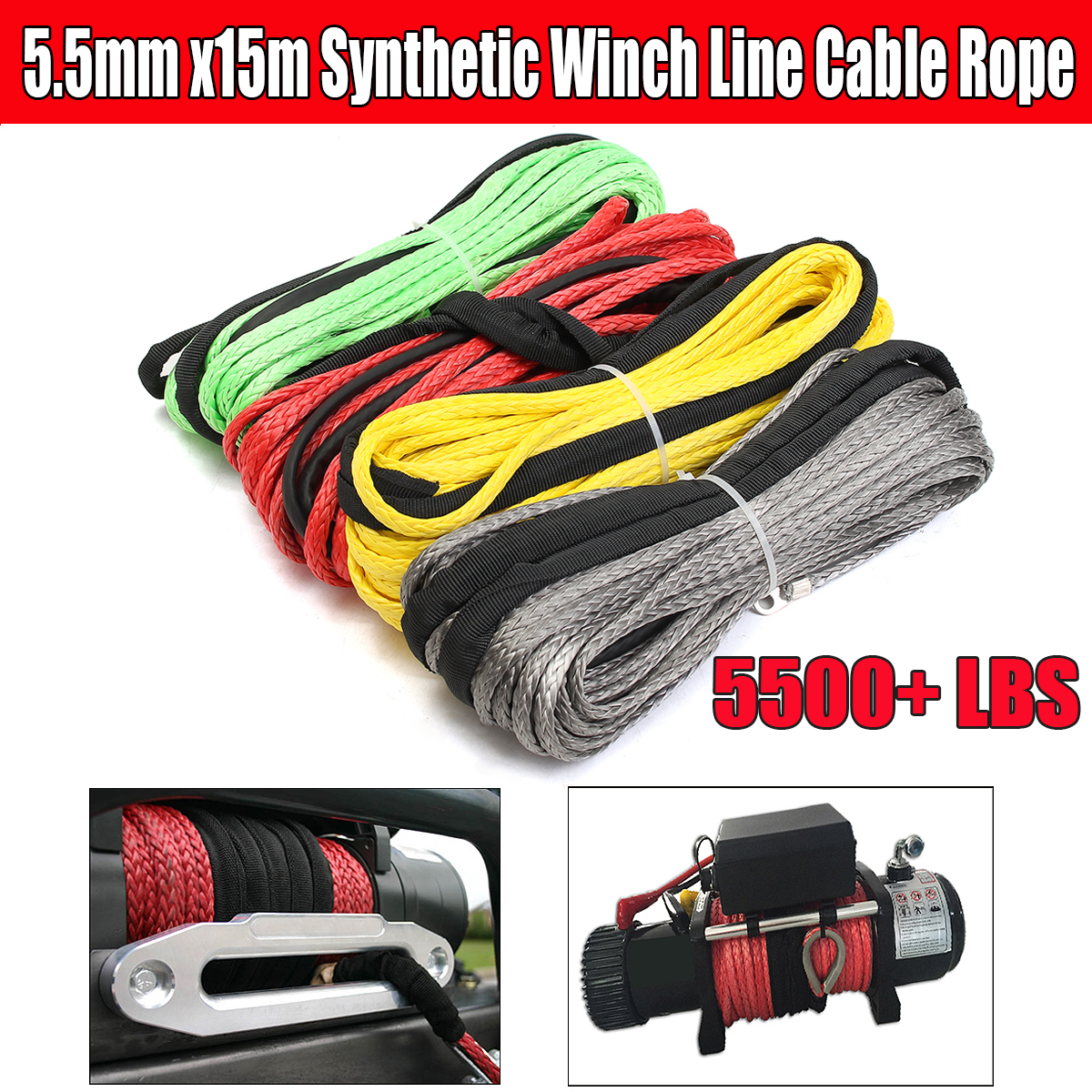 Winch-Line Cable-Rope Synthetic-Fiber 5500 UTV Lbs Sheath for ATV 3/16''-X-50' title=