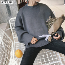 2019 Men Sweater Cashmere Warm Loose Round Neck Solid Color Fashion Men Sweater Oversize Long Sleeve Casual Knitted Pullover Man недорго, оригинальная цена
