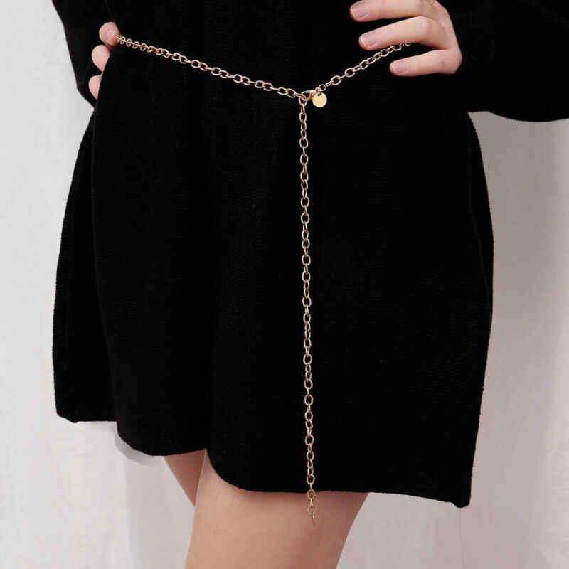 Meihuida 여성 얇은 체인 여성 골드 실버 허리 바디 작은 드레스 체인 벨트 숙녀 술 장식 조각 금속 벨트 ketting riem