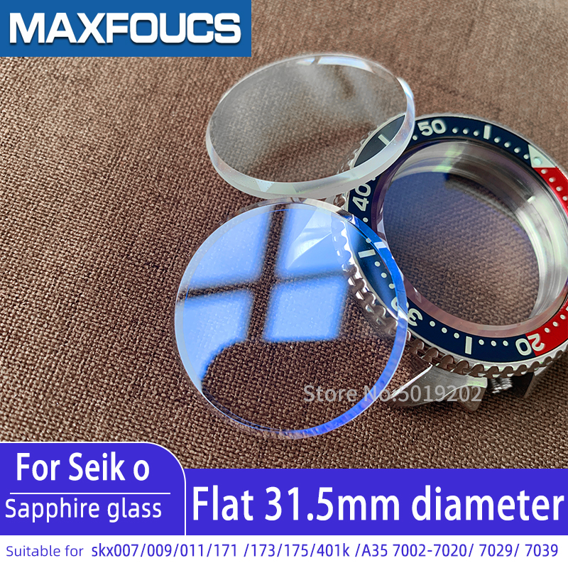 For Seiko Flat Sapphire Glass Skx007 SKX009 SKX011 7s26 SKX171 SKX175 7002Crystal Watch Glass Parts With Chamfer AR Blue