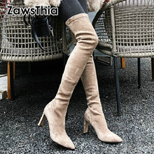 Woman Boots Thigh Fabric Stretch Pointed-Toe Winter Zawsthia Nubuck Good-Quality Autumn