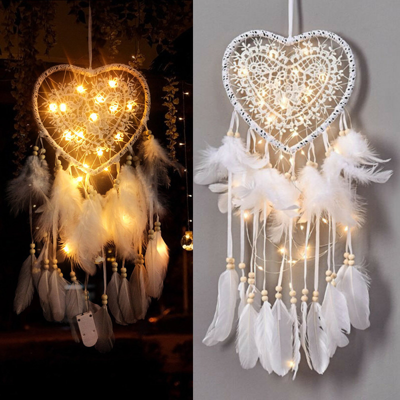 Cortinas Para La Sala Hollow Heart Shape Feather Pendant With LED Lights Ornament Wedding Party Decor Macrame Cadeau Femme